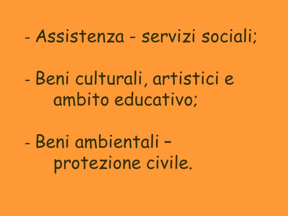 - Assistenza - servizi sociali; - Beni culturali, artistici e ambito educativo; - Beni ambientali – protezione civile.