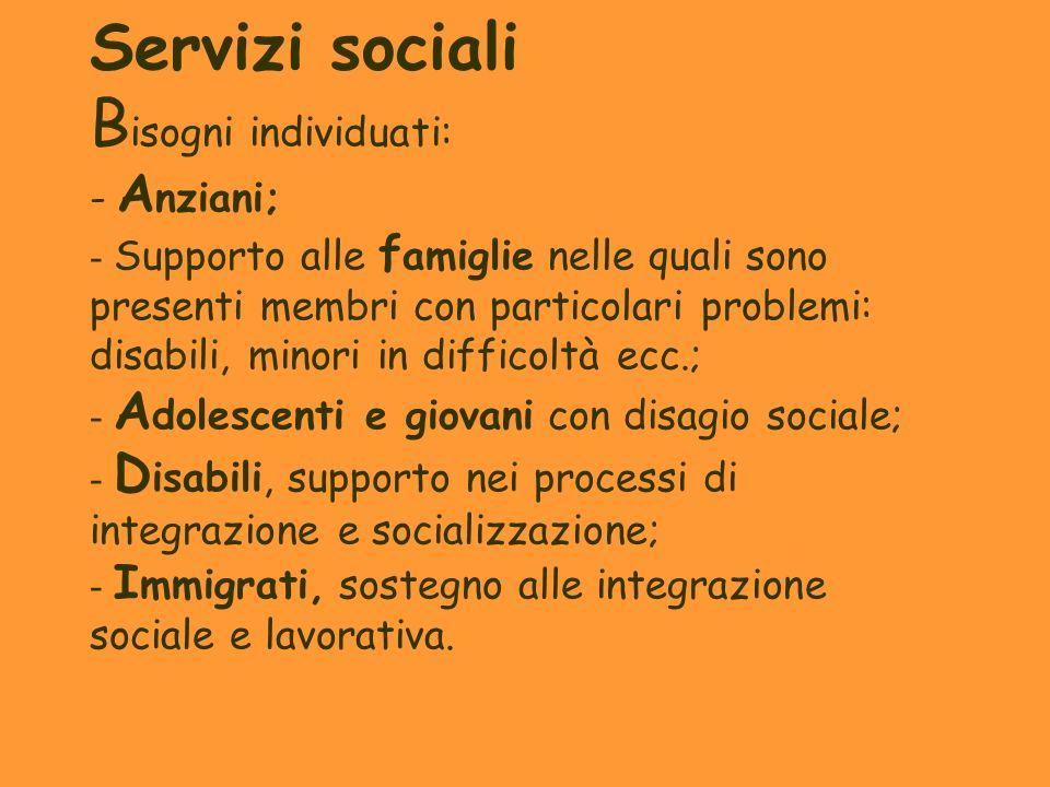 Servizi sociali B isogni individuati: - A nziani; - Supporto alle f amiglie nelle quali sono presenti membri con particolari problemi: disabili, minor