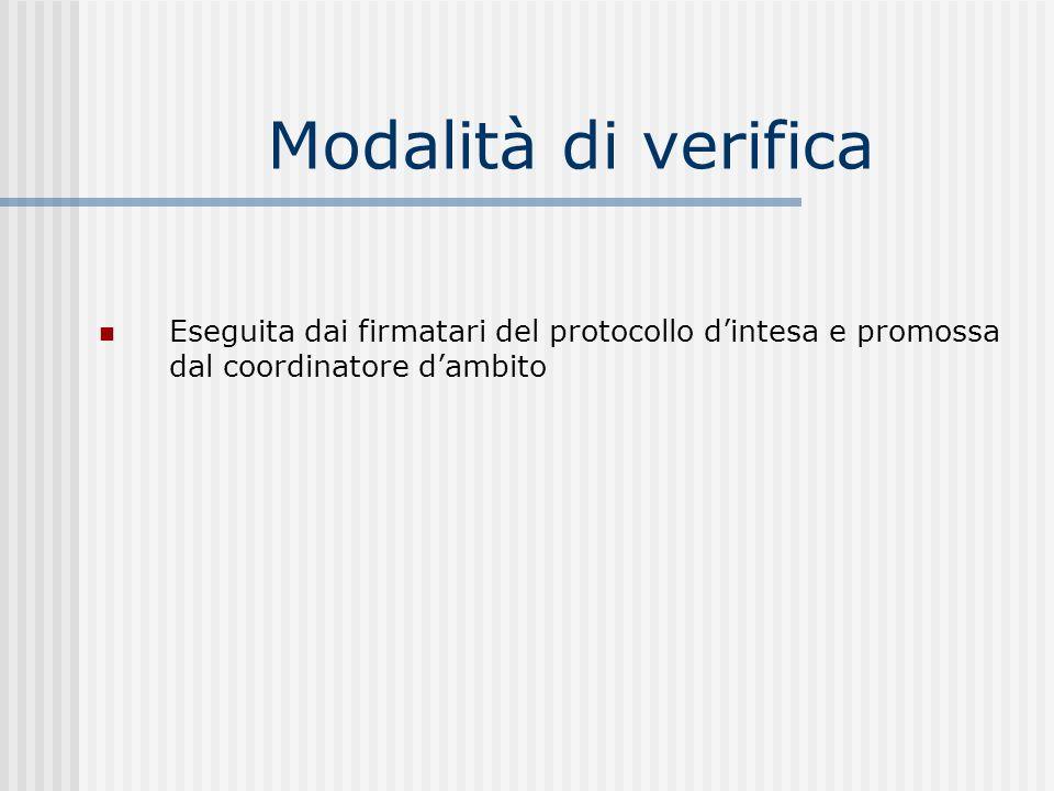 Modalità di verifica Eseguita dai firmatari del protocollo dintesa e promossa dal coordinatore dambito