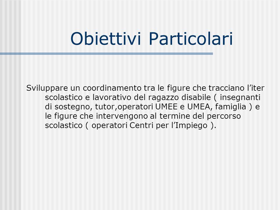 Obiettivi Particolari Sviluppare un coordinamento tra le figure che tracciano liter scolastico e lavorativo del ragazzo disabile ( insegnanti di soste