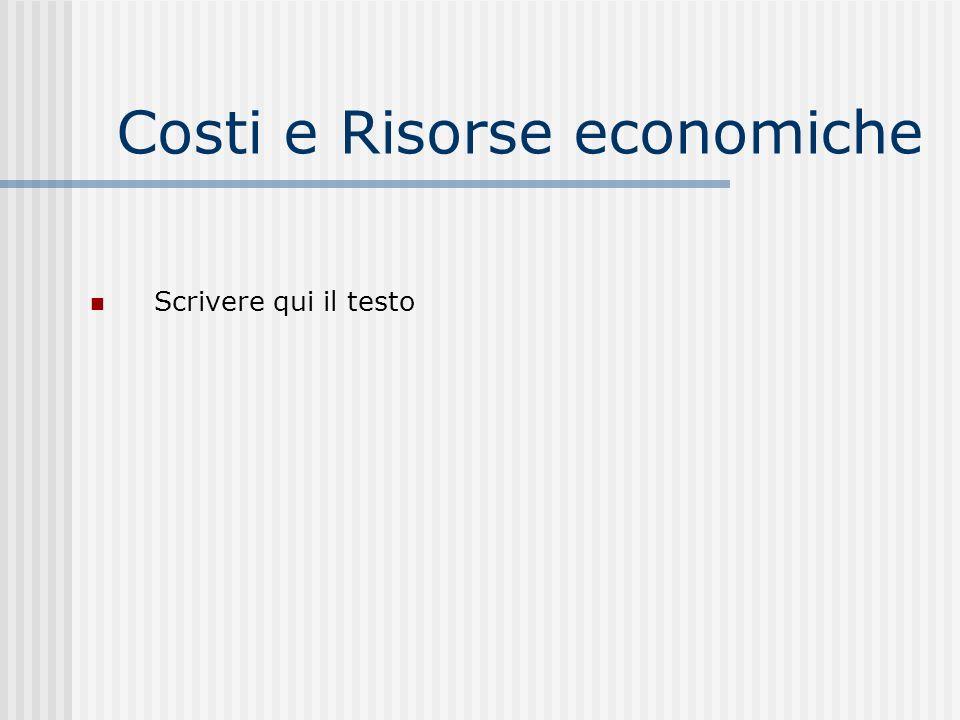 Costi e Risorse economiche Scrivere qui il testo