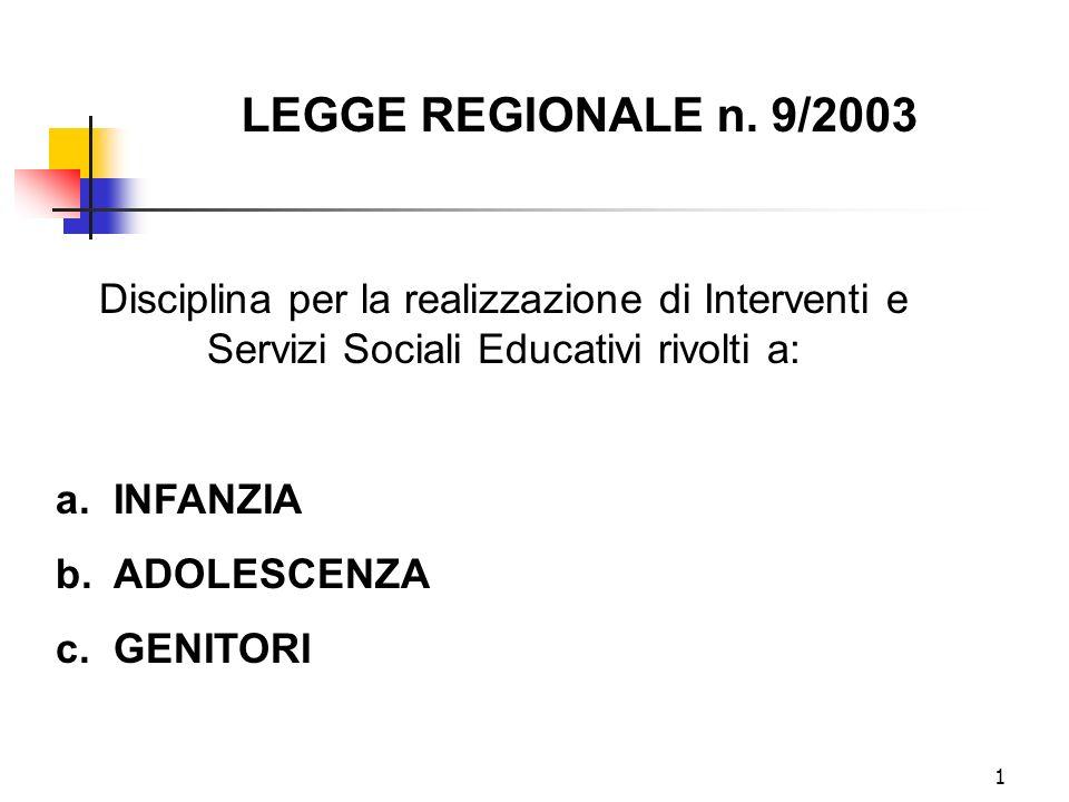 1 Disciplina per la realizzazione di Interventi e Servizi Sociali Educativi rivolti a: a. INFANZIA b. ADOLESCENZA c. GENITORI LEGGE REGIONALE n. 9/200