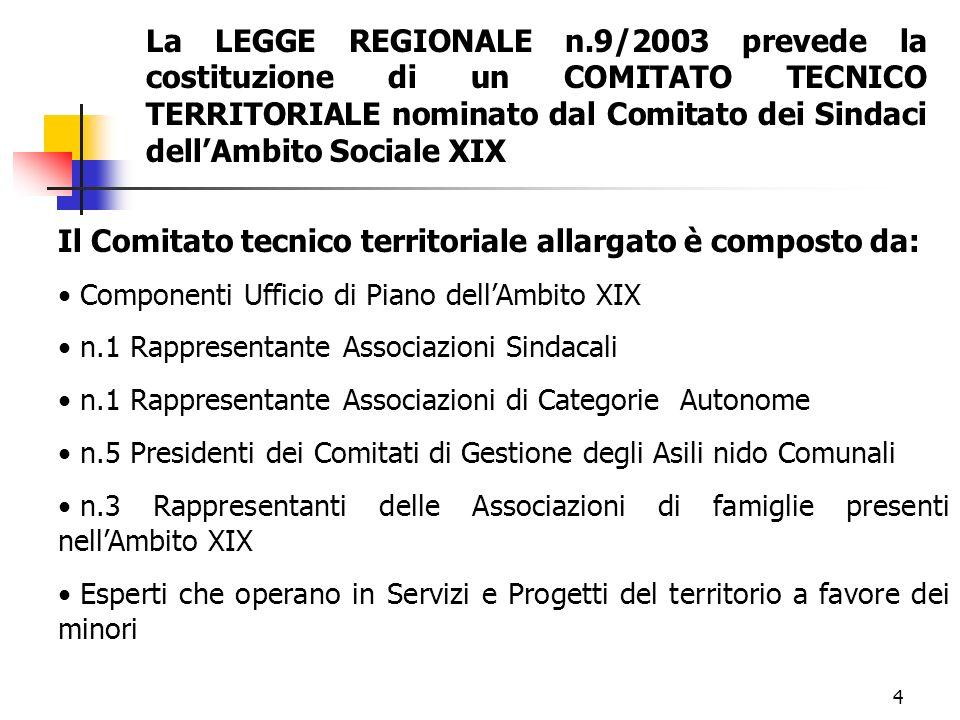 4 Il Comitato tecnico territoriale allargato è composto da: Componenti Ufficio di Piano dellAmbito XIX n.1 Rappresentante Associazioni Sindacali n.1 R