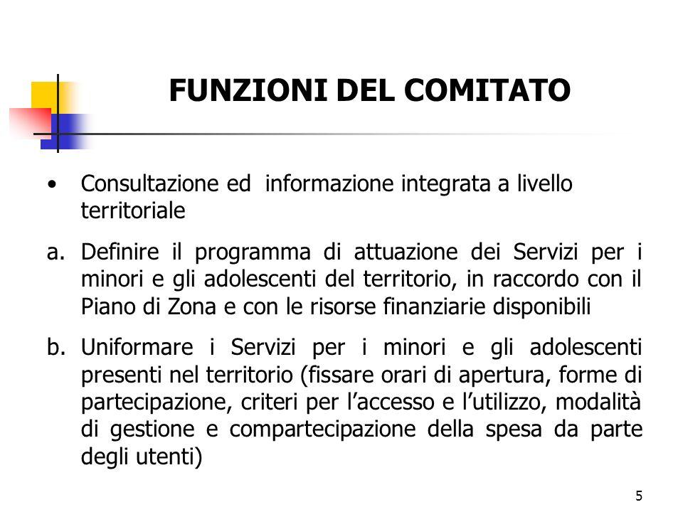 5 Consultazione ed informazione integrata a livello territoriale a.Definire il programma di attuazione dei Servizi per i minori e gli adolescenti del