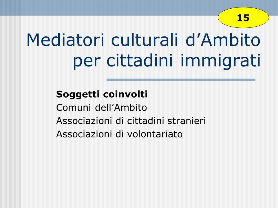 Mediatori culturali dAmbito per cittadini immigrati Soggetti coinvolti Comuni dellAmbito Associazioni di cittadini stranieri Associazioni di volontariato 15