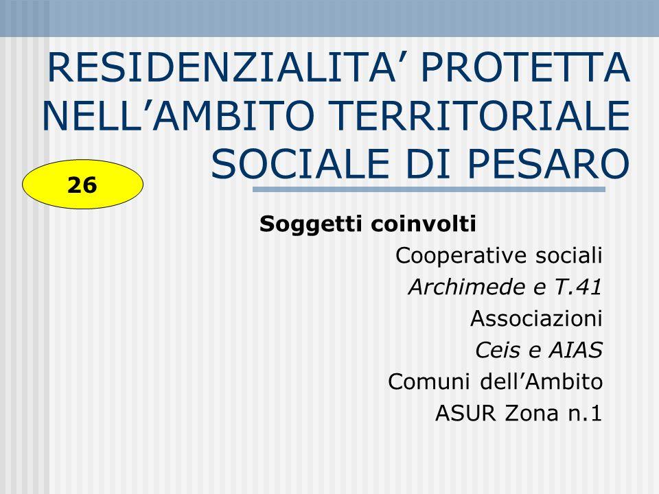 Osservazione e analisi dellesistente A tuttoggi sono attive n.3 strutture residenziale per portatori di handicap: 1.