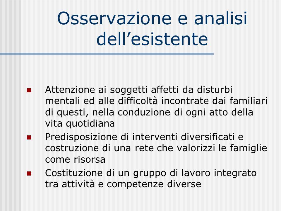 Osservazione e analisi dellesistente Attenzione ai soggetti affetti da disturbi mentali ed alle difficoltà incontrate dai familiari di questi, nella c