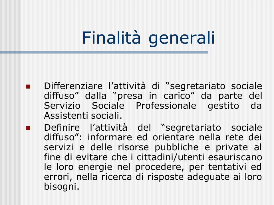 Finalità generali Differenziare lattività di segretariato sociale diffuso dalla presa in carico da parte del Servizio Sociale Professionale gestito da Assistenti sociali.