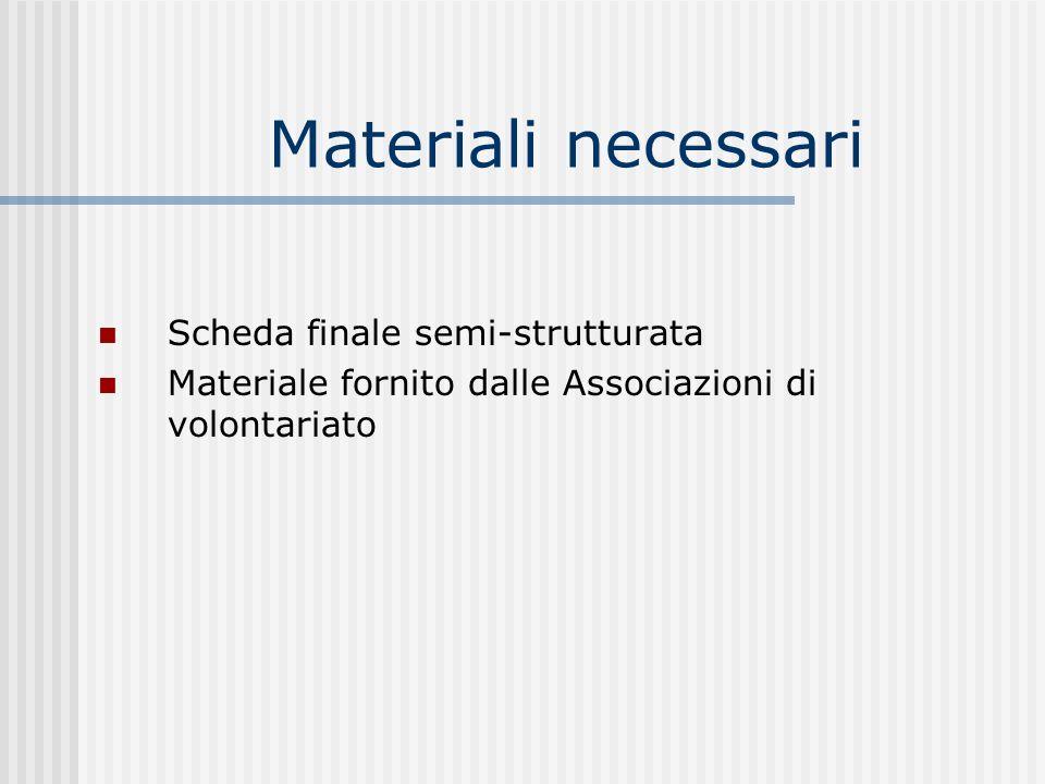 Materiali necessari Scheda finale semi-strutturata Materiale fornito dalle Associazioni di volontariato