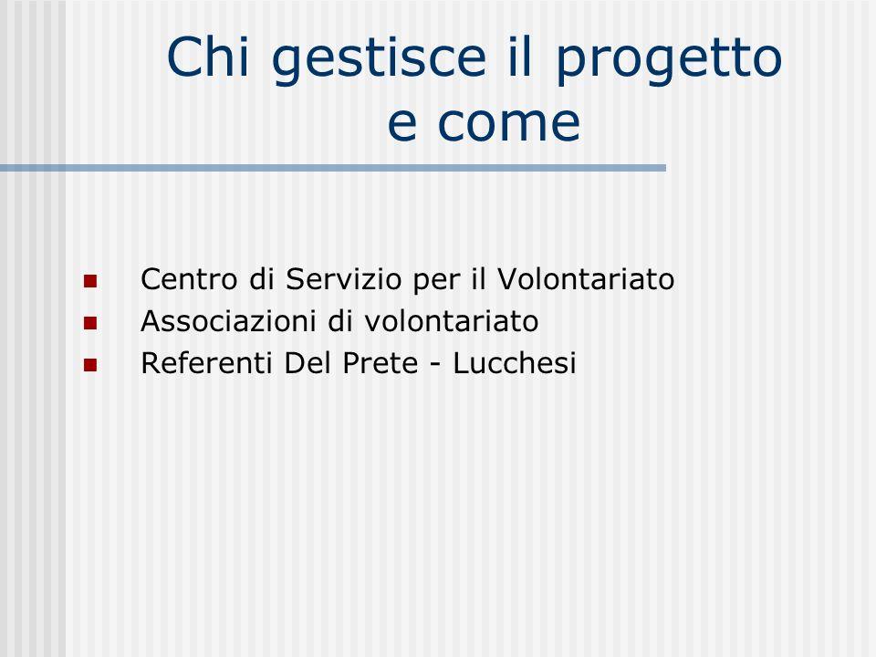 Chi gestisce il progetto e come Centro di Servizio per il Volontariato Associazioni di volontariato Referenti Del Prete - Lucchesi