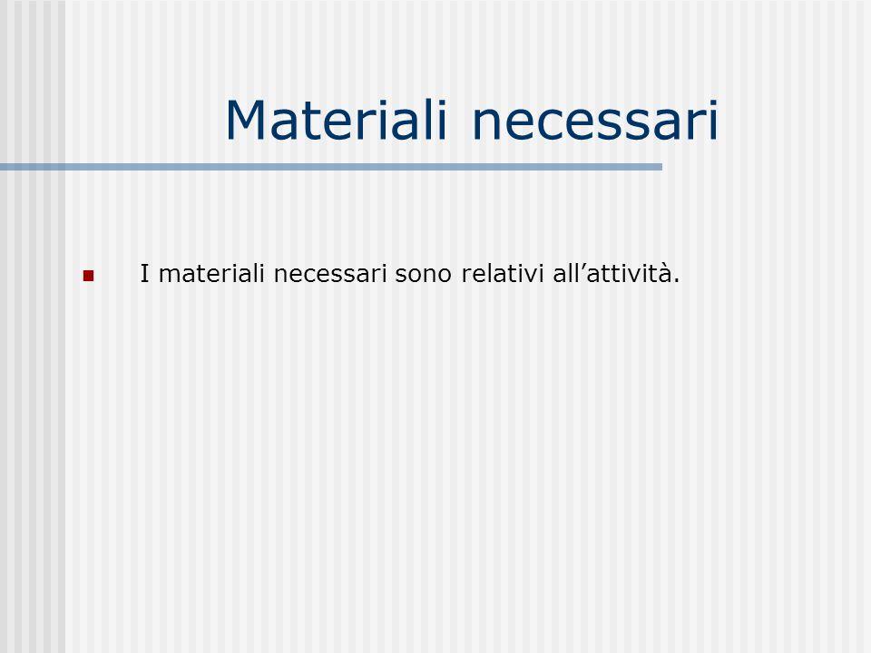 Materiali necessari I materiali necessari sono relativi allattività.