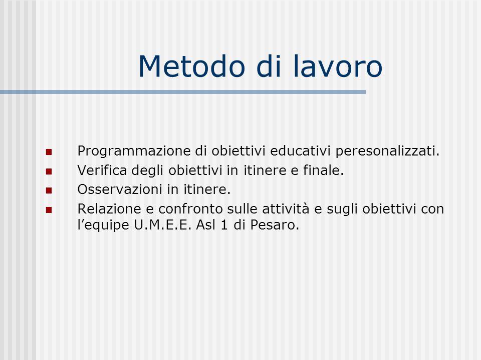 Metodo di lavoro Programmazione di obiettivi educativi peresonalizzati. Verifica degli obiettivi in itinere e finale. Osservazioni in itinere. Relazio