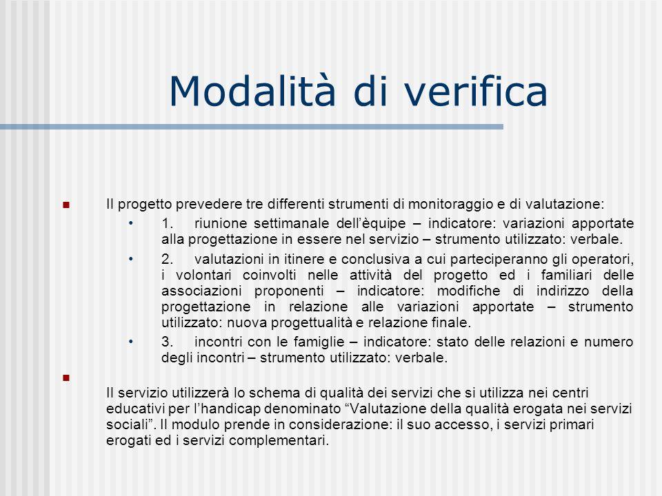 Modalità di verifica Il progetto prevedere tre differenti strumenti di monitoraggio e di valutazione: 1.riunione settimanale dellèquipe – indicatore: