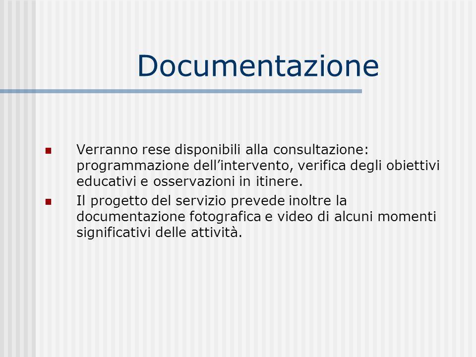 Documentazione Verranno rese disponibili alla consultazione: programmazione dellintervento, verifica degli obiettivi educativi e osservazioni in itine