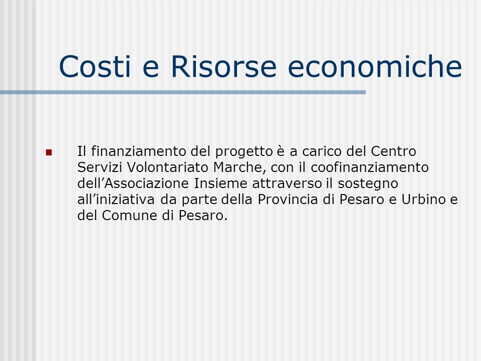 Costi e Risorse economiche Il finanziamento del progetto è a carico del Centro Servizi Volontariato Marche, con il coofinanziamento dellAssociazione I