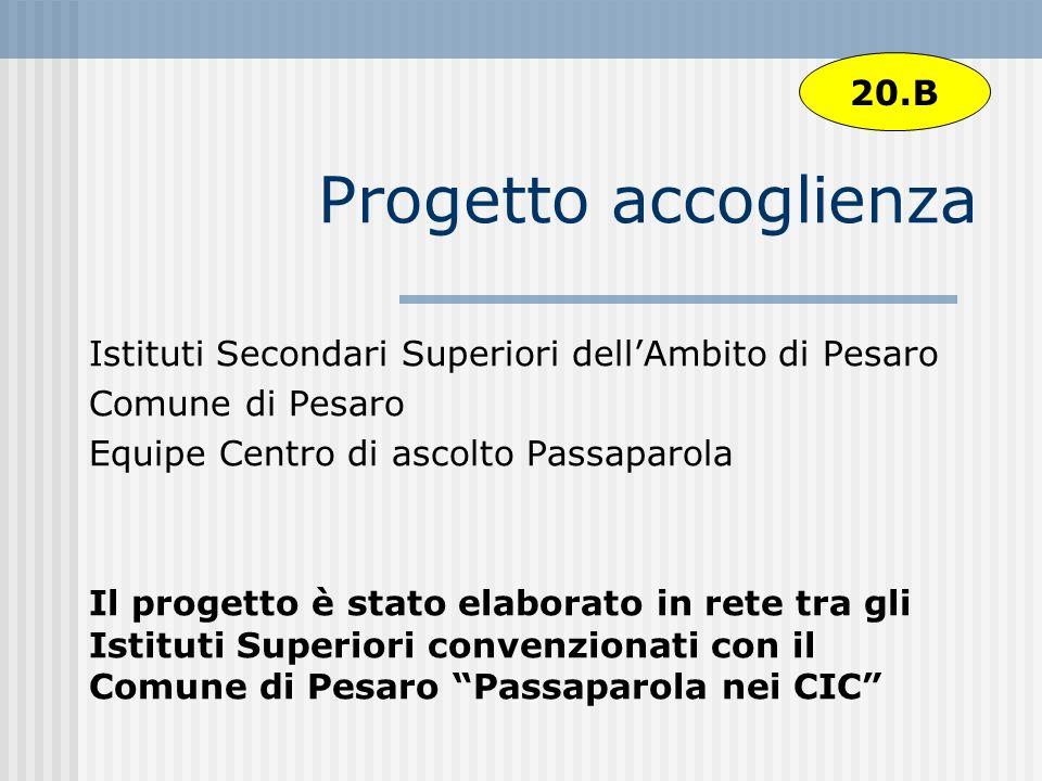 Progetto accoglienza Istituti Secondari Superiori dellAmbito di Pesaro Comune di Pesaro Equipe Centro di ascolto Passaparola Il progetto è stato elabo