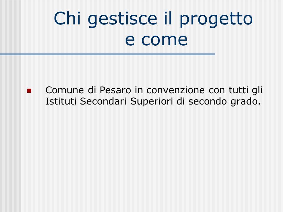Chi gestisce il progetto e come Comune di Pesaro in convenzione con tutti gli Istituti Secondari Superiori di secondo grado.