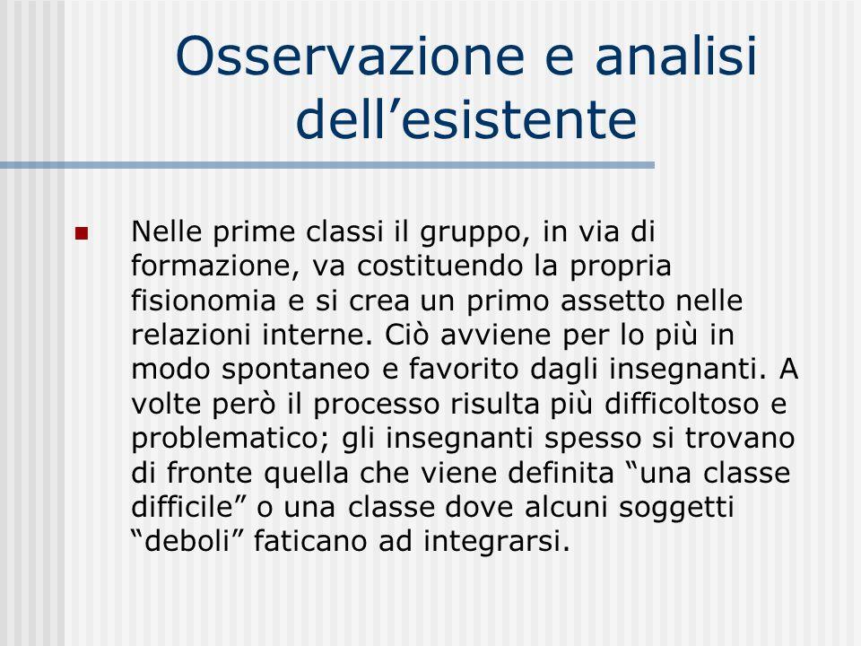 Osservazione e analisi dellesistente Nelle prime classi il gruppo, in via di formazione, va costituendo la propria fisionomia e si crea un primo asset