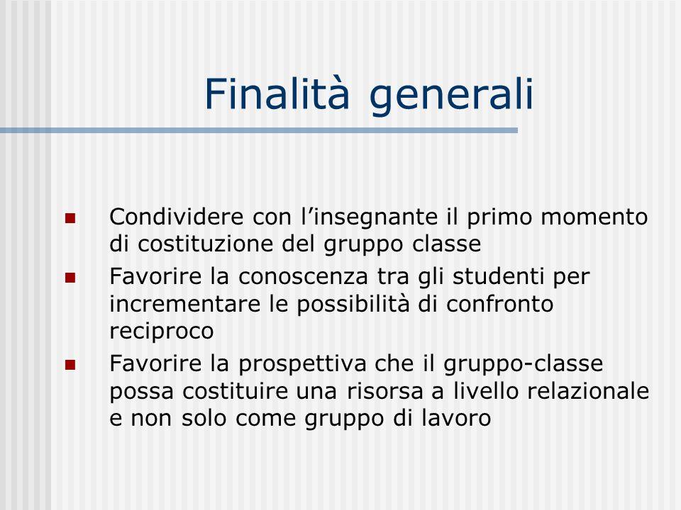 Finalità generali Condividere con linsegnante il primo momento di costituzione del gruppo classe Favorire la conoscenza tra gli studenti per increment