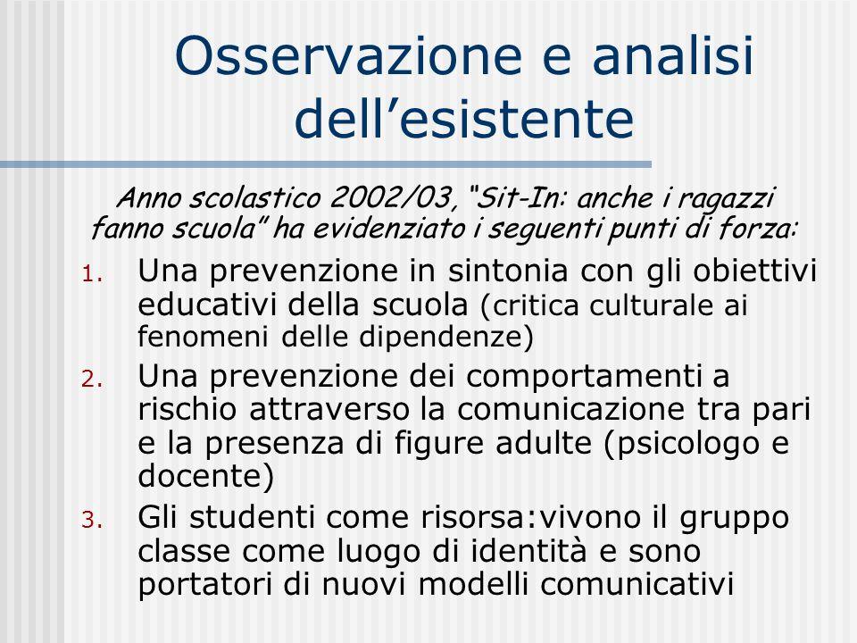 Osservazione e analisi dellesistente 1. Una prevenzione in sintonia con gli obiettivi educativi della scuola (critica culturale ai fenomeni delle dipe