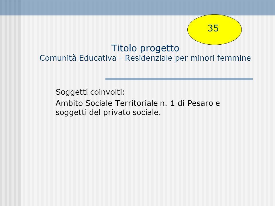 Titolo progetto Comunità Educativa - Residenziale per minori femmine Soggetti coinvolti: Ambito Sociale Territoriale n.