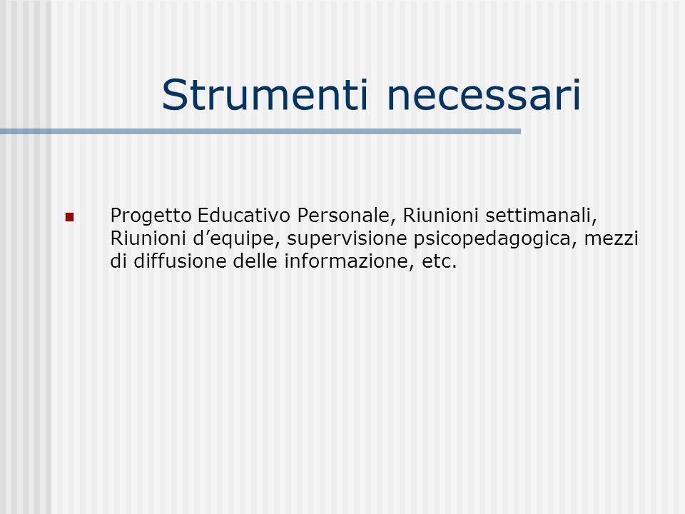 Strumenti necessari Progetto Educativo Personale, Riunioni settimanali, Riunioni dequipe, supervisione psicopedagogica, mezzi di diffusione delle informazione, etc.
