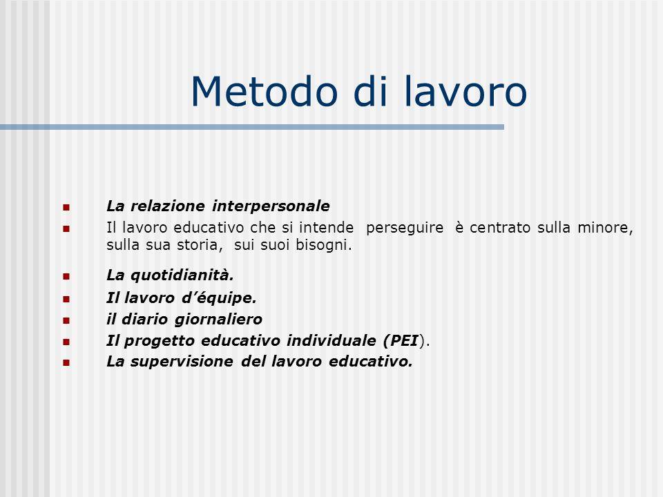 Metodo di lavoro La relazione interpersonale Il lavoro educativo che si intende perseguire è centrato sulla minore, sulla sua storia, sui suoi bisogni.
