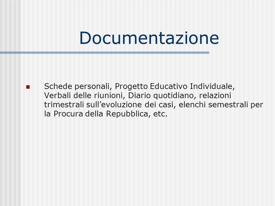 Documentazione Schede personali, Progetto Educativo Individuale, Verbali delle riunioni, Diario quotidiano, relazioni trimestrali sullevoluzione dei casi, elenchi semestrali per la Procura della Repubblica, etc.
