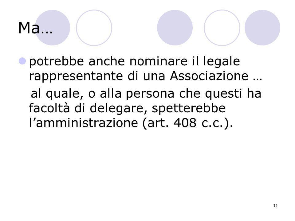 11 Ma… potrebbe anche nominare il legale rappresentante di una Associazione … al quale, o alla persona che questi ha facoltà di delegare, spetterebbe