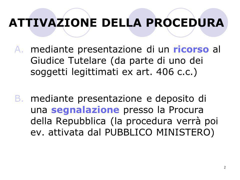 2 ATTIVAZIONE DELLA PROCEDURA A.mediante presentazione di un ricorso al Giudice Tutelare (da parte di uno dei soggetti legittimati ex art. 406 c.c.) B