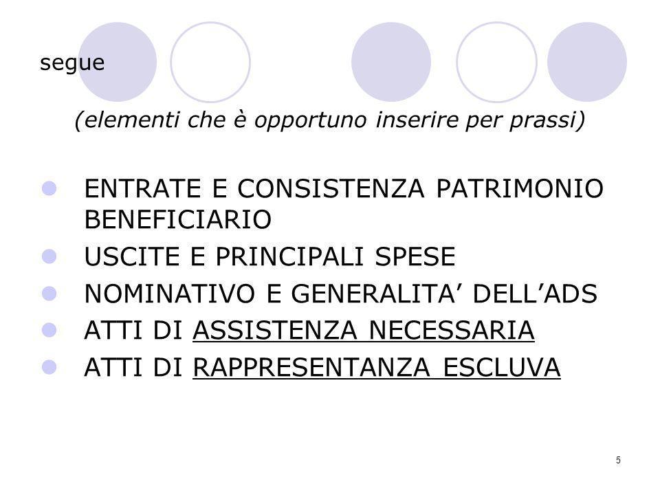 5 segue (elementi che è opportuno inserire per prassi) ENTRATE E CONSISTENZA PATRIMONIO BENEFICIARIO USCITE E PRINCIPALI SPESE NOMINATIVO E GENERALITA
