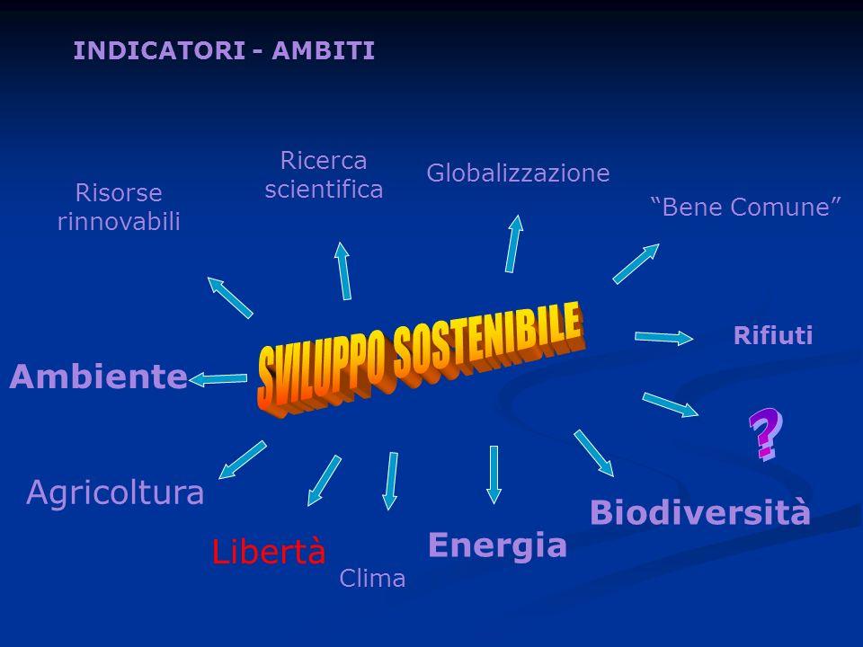 Energia Biodiversità Rifiuti Bene Comune Ricerca scientifica Risorse rinnovabili Ambiente Globalizzazione Clima INDICATORI - AMBITI Agricoltura Libert