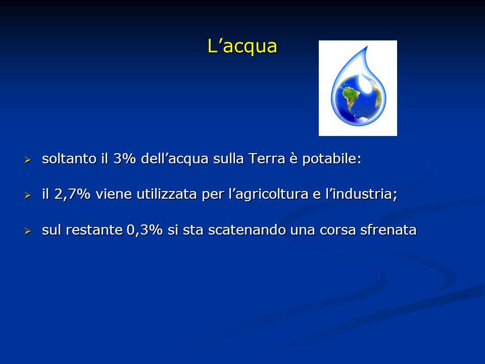 Lacqua soltanto il 3% dellacqua sulla Terra è potabile: soltanto il 3% dellacqua sulla Terra è potabile: il 2,7% viene utilizzata per lagricoltura e l