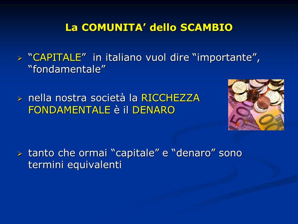 La COMUNITA dello SCAMBIO CAPITALE in italiano vuol dire importante, fondamentaleCAPITALE in italiano vuol dire importante, fondamentale nella nostra