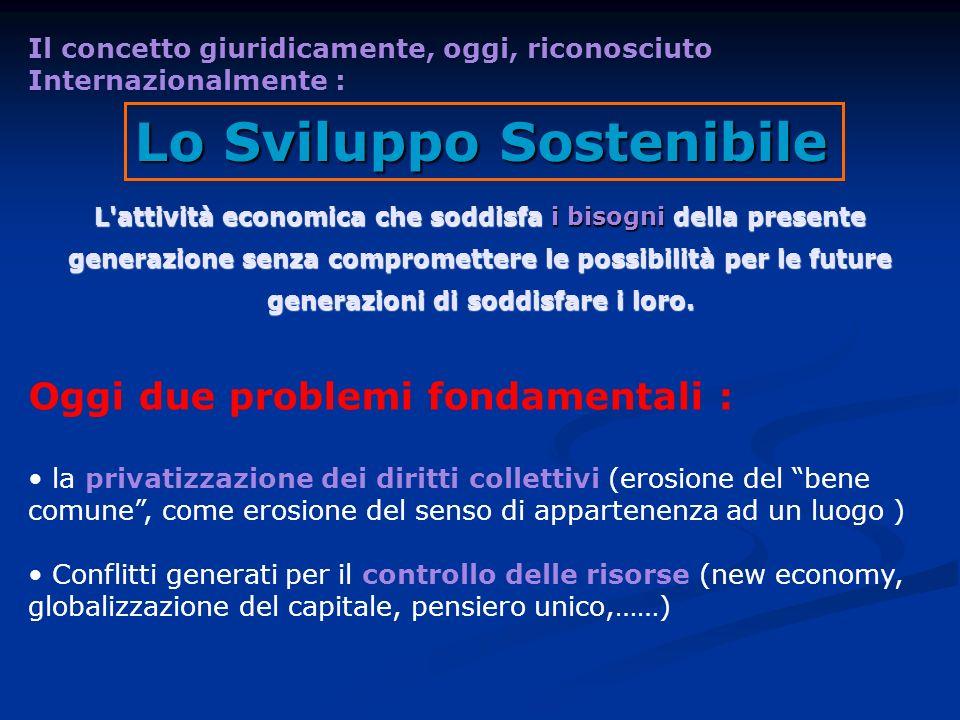 Lo Sviluppo Sostenibile L'attività economica che soddisfa i bisogni della presente generazione senza compromettere le possibilità per le future genera