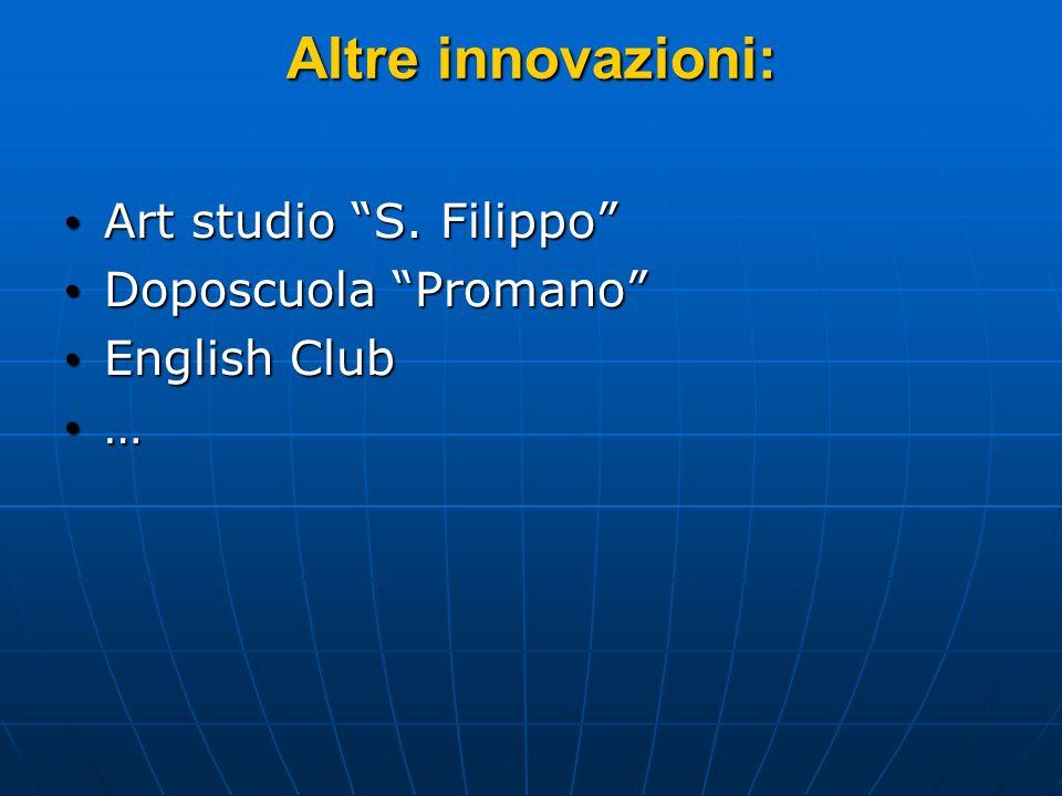 Altre innovazioni: Art studio S. Filippo Art studio S. Filippo Doposcuola Promano Doposcuola Promano English Club English Club …