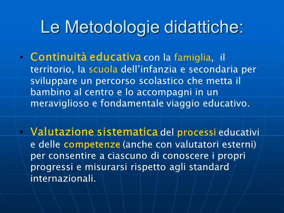 Le Metodologie didattiche: Continuità educativa con la famiglia, il territorio, la scuola dellinfanzia e secondaria per sviluppare un percorso scolast