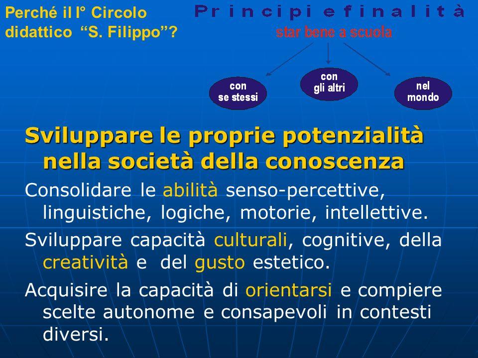 Perché il I° Circolo didattico S. Filippo? Sviluppare le proprie potenzialità nella società della conoscenza Consolidare le abilità senso-percettive,