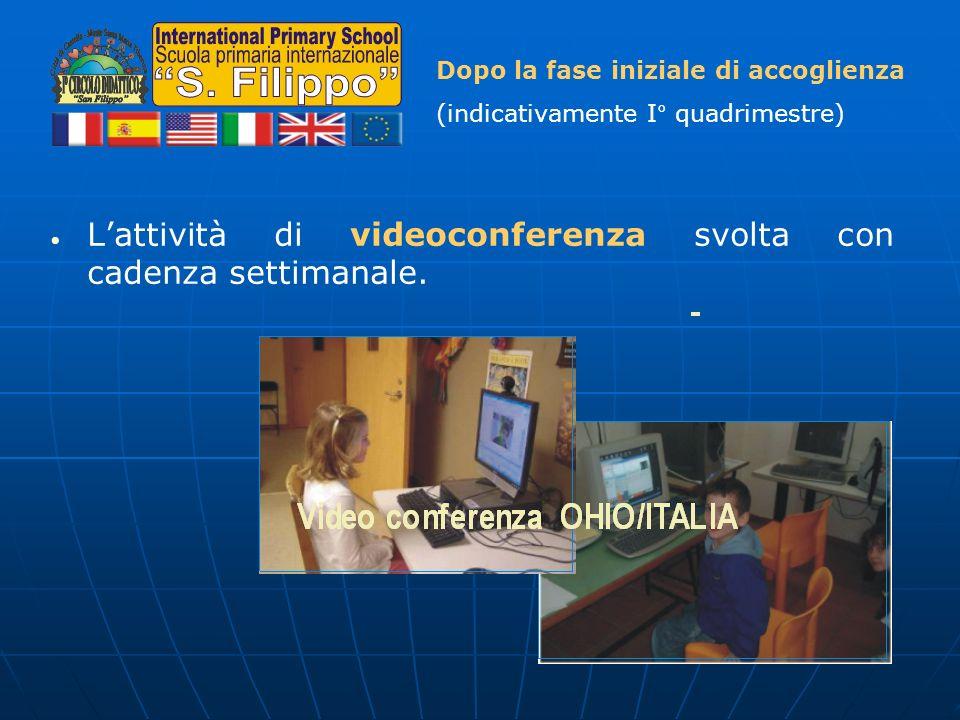 Lattività di videoconferenza svolta con cadenza settimanale. Dopo la fase iniziale di accoglienza (indicativamente I° quadrimestre)