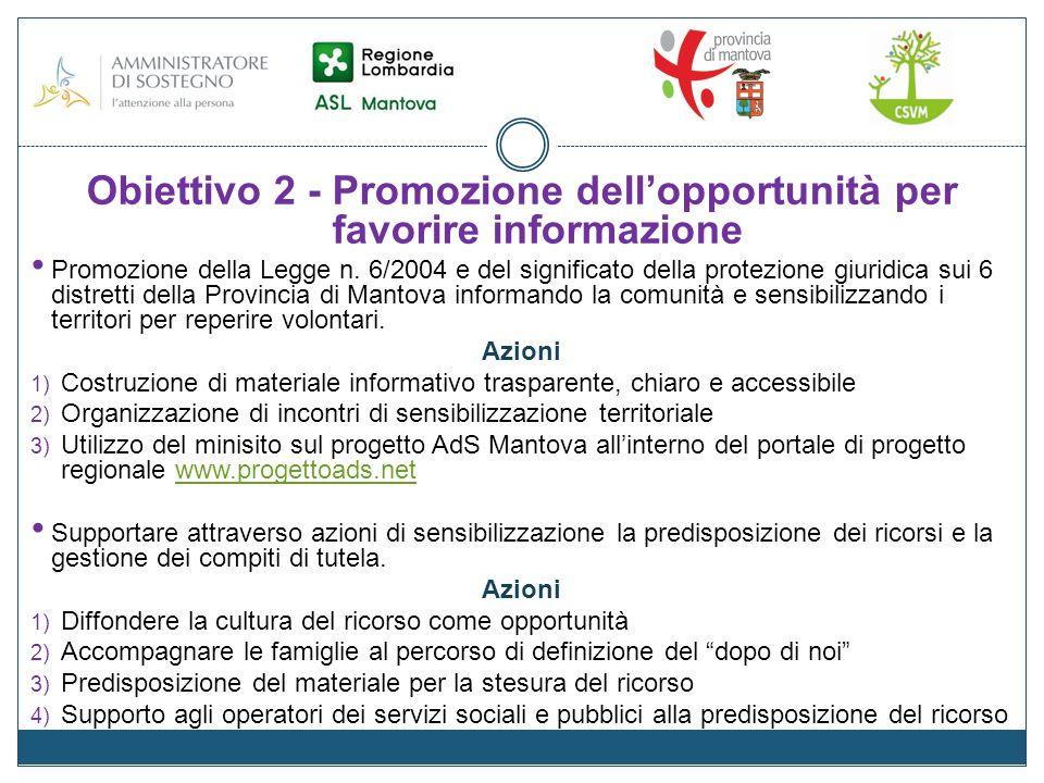 Obiettivo 2 - Promozione dellopportunità per favorire informazione Promozione della Legge n.