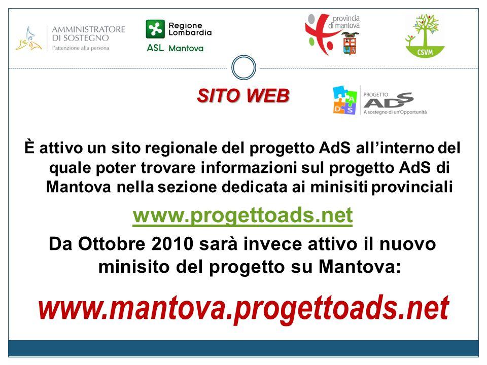 SITO WEB È attivo un sito regionale del progetto AdS allinterno del quale poter trovare informazioni sul progetto AdS di Mantova nella sezione dedicata ai minisiti provinciali www.progettoads.net Da Ottobre 2010 sarà invece attivo il nuovo minisito del progetto su Mantova: www.mantova.progettoads.net