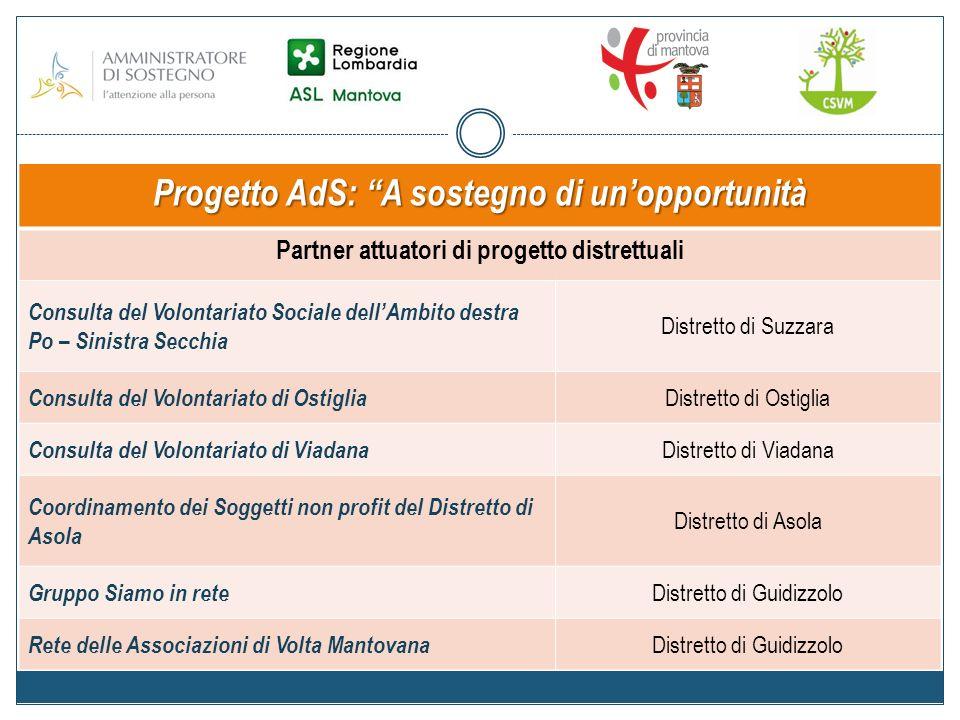 Progetto AdS: A sostegno di unopportunità Partner istituzionali Azienda Sanitaria Locale di Mantova Ufficio di Protezione Giuridica Provincia di Mantova Assessorato alle Politiche Sociali e Sanitarie Centro Servizi per il Volontariato Mantovano Settore Progettazione