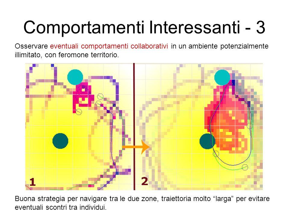 Comportamenti Interessanti - 3 Osservare eventuali comportamenti collaborativi in un ambiente potenzialmente illimitato, con feromone territorio. Buon