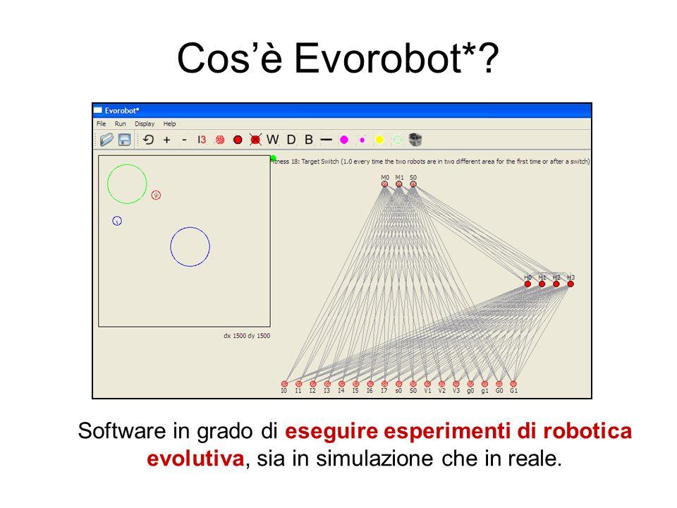 Cosè Evorobot*? Software in grado di eseguire esperimenti di robotica evolutiva, sia in simulazione che in reale.