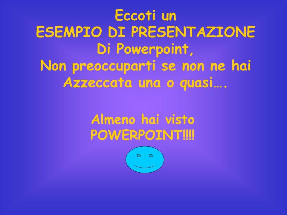 Eccoti un ESEMPIO DI PRESENTAZIONE Di Powerpoint, Non preoccuparti se non ne hai Azzeccata una o quasi…. Almeno hai visto POWERPOINT!!!!