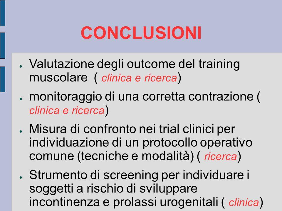 Valutazione degli outcome del training muscolare ( clinica e ricerca ) monitoraggio di una corretta contrazione ( clinica e ricerca ) Misura di confro