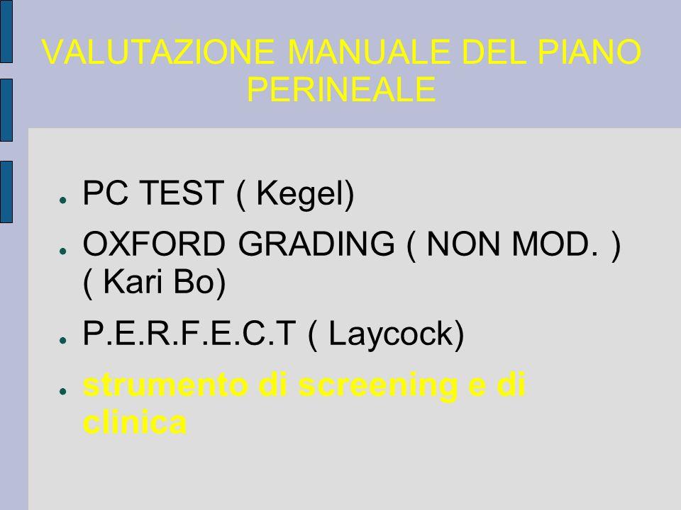 VALUTAZIONE MANUALE DEL PIANO PERINEALE PC TEST ( Kegel) OXFORD GRADING ( NON MOD. ) ( Kari Bo) P.E.R.F.E.C.T ( Laycock) strumento di screening e di c