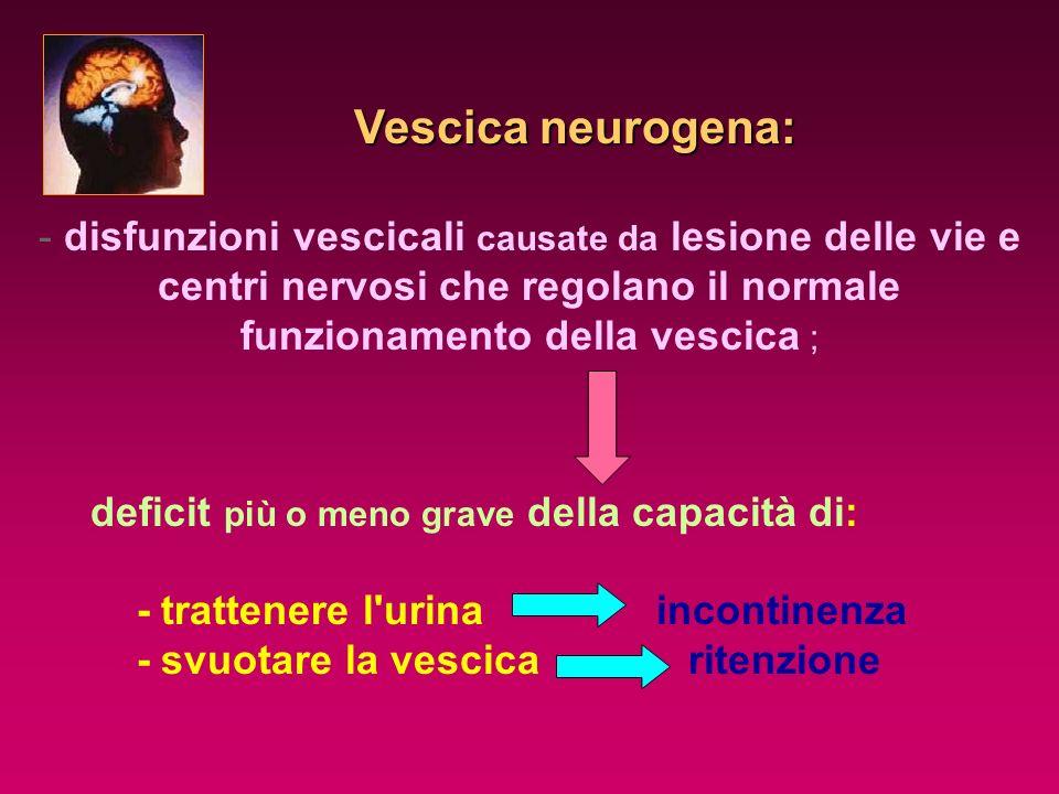 Vescica neurogena: Vescica neurogena: - disfunzioni vescicali causate da lesione delle vie e centri nervosi che regolano il normale funzionamento dell