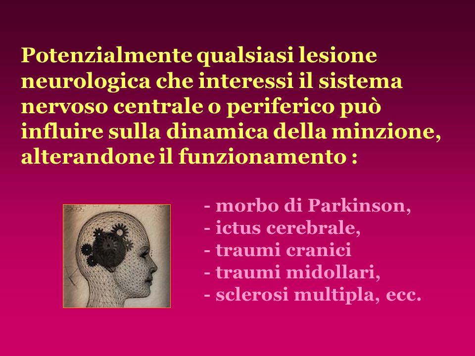 Potenzialmente qualsiasi lesione neurologica che interessi il sistema nervoso centrale o periferico può influire sulla dinamica della minzione, altera