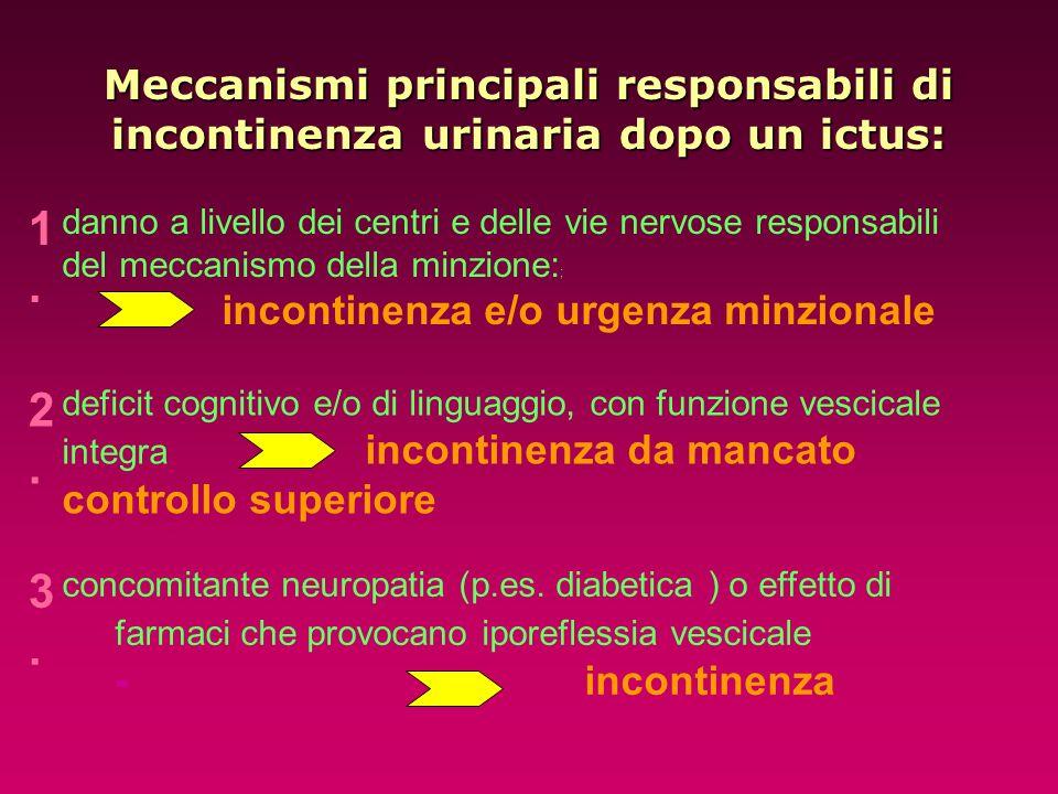 Meccanismi principali responsabili di incontinenza urinaria dopo un ictus: 1.1. danno a livello dei centri e delle vie nervose responsabili del meccan